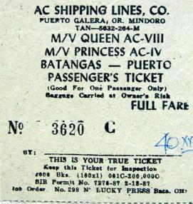 Bilhete de barco Batangas - Puerto Galera