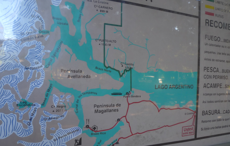 informação no Parque Nacional Los Glaciares
