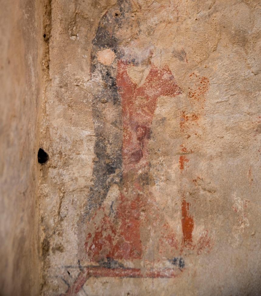 Pinturas decorativas numa das torres do castelo