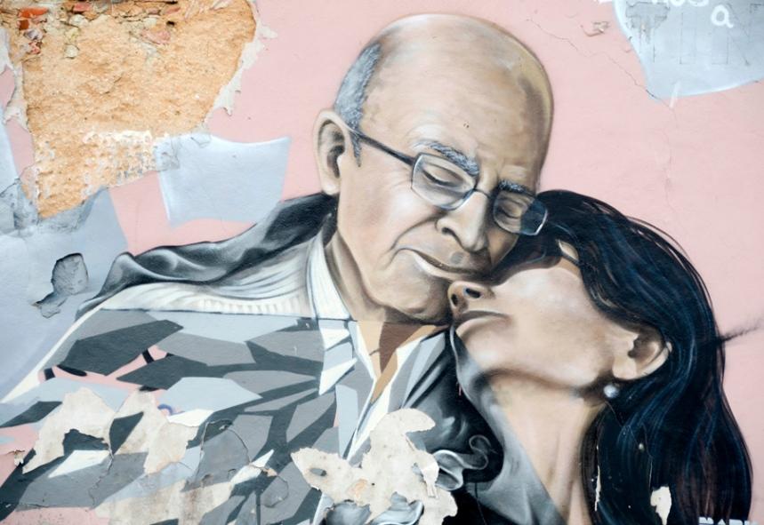 Mural dedicado a Saramago e Pilar