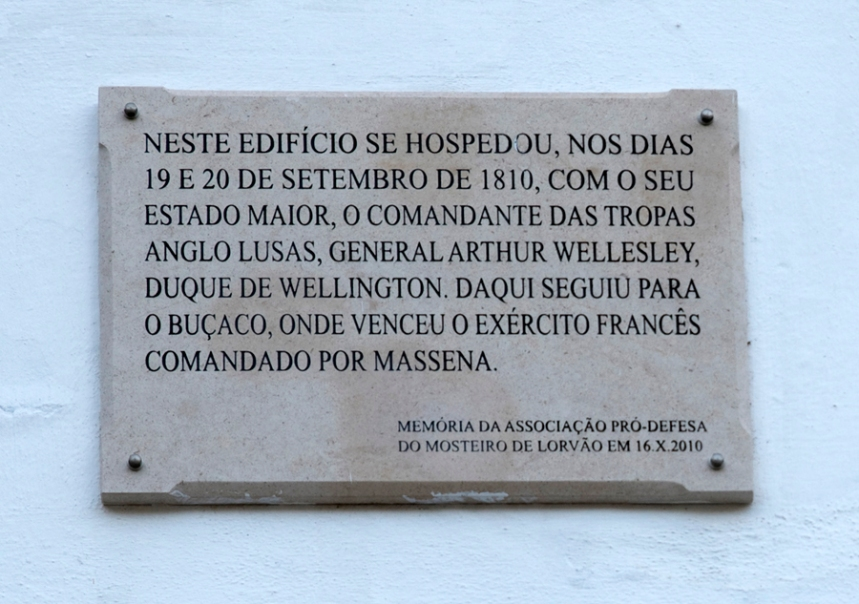 Placa que assinala a rsença do Duque de Wellington