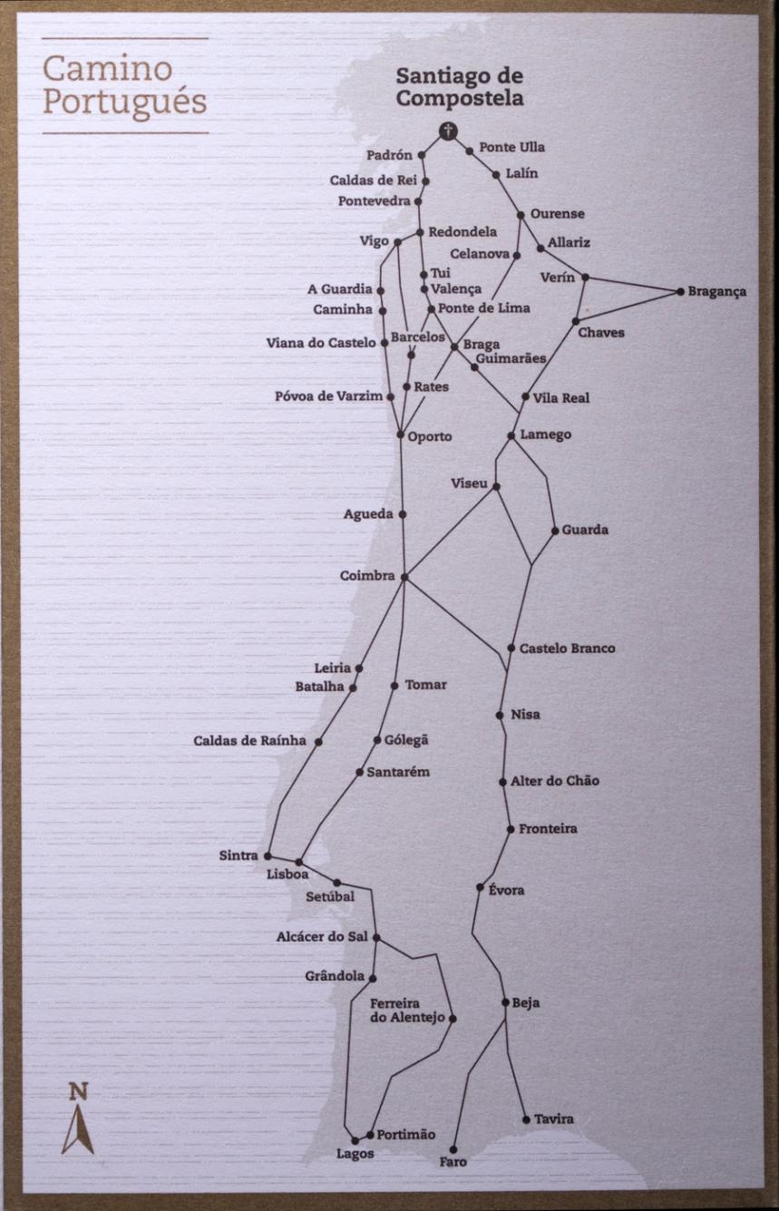 Os vários caminhos portugueses detalhados na credencial