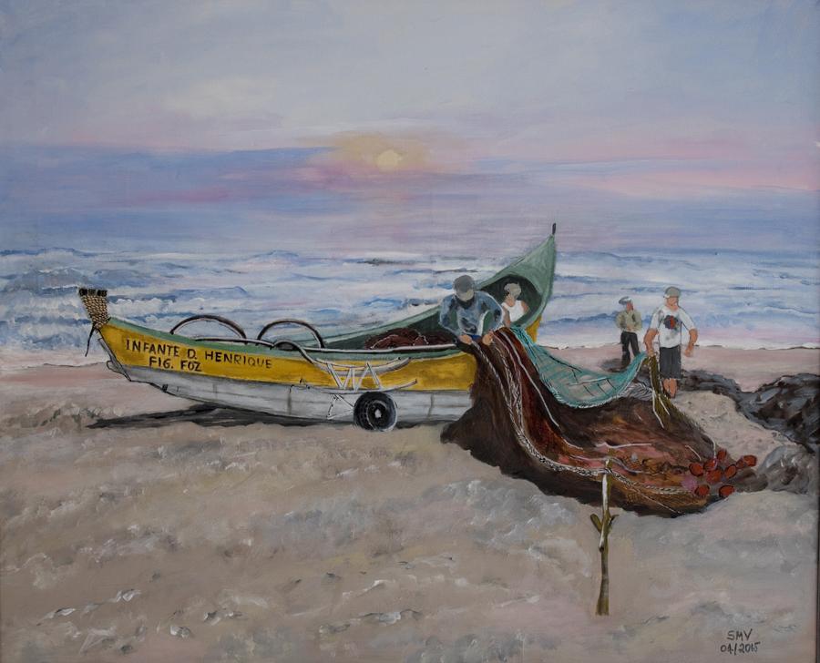 Pintura que retrata um barco com rodas. A pintura está no Centro de Arte Xávega