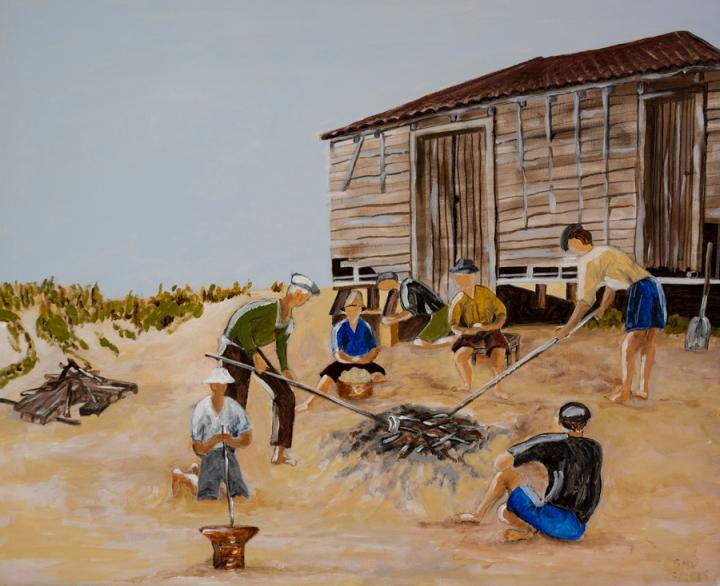 Pintura que retrata a batata assada na praia. A pintura está no Centro de Arte Xávega