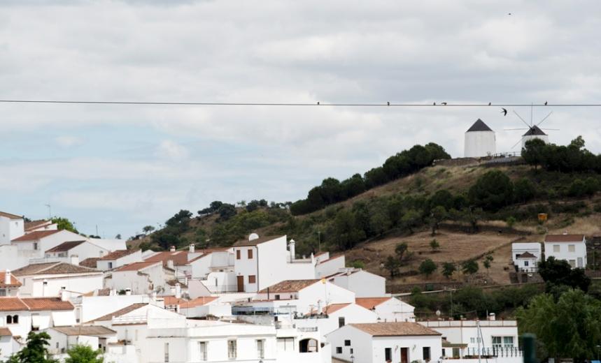 O cabo sobre o Guadiana com vista para Sanlúcar