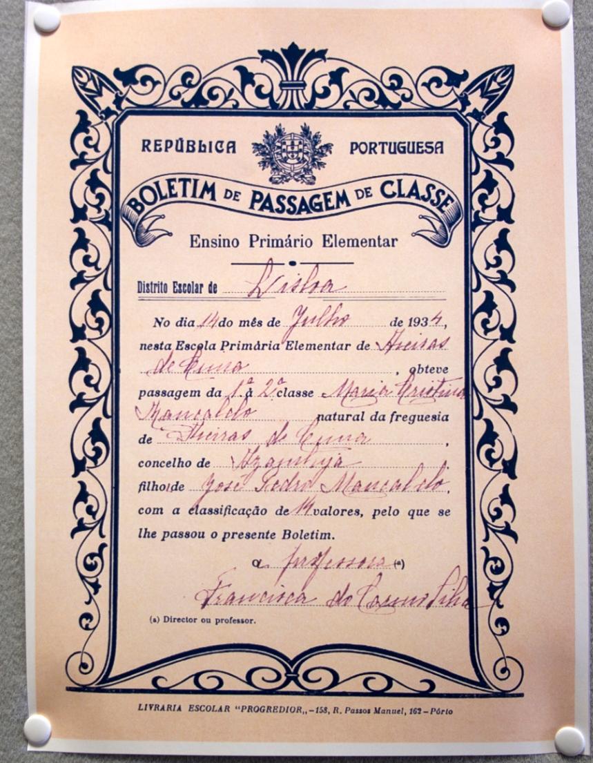 Certificado de passagem de classe em 1934