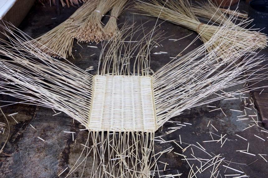 Inicio da feitura de uma cesta