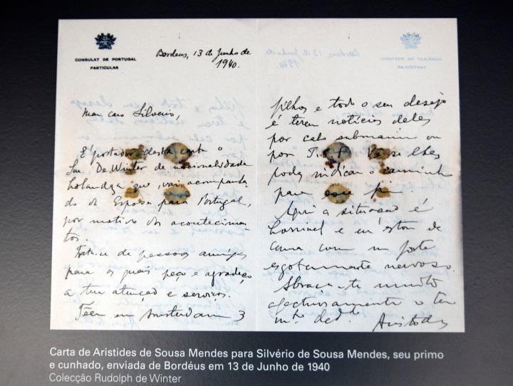 Carta de Aristides de Sousa Mendes. Pouco depois foi ostracizado pelo regime