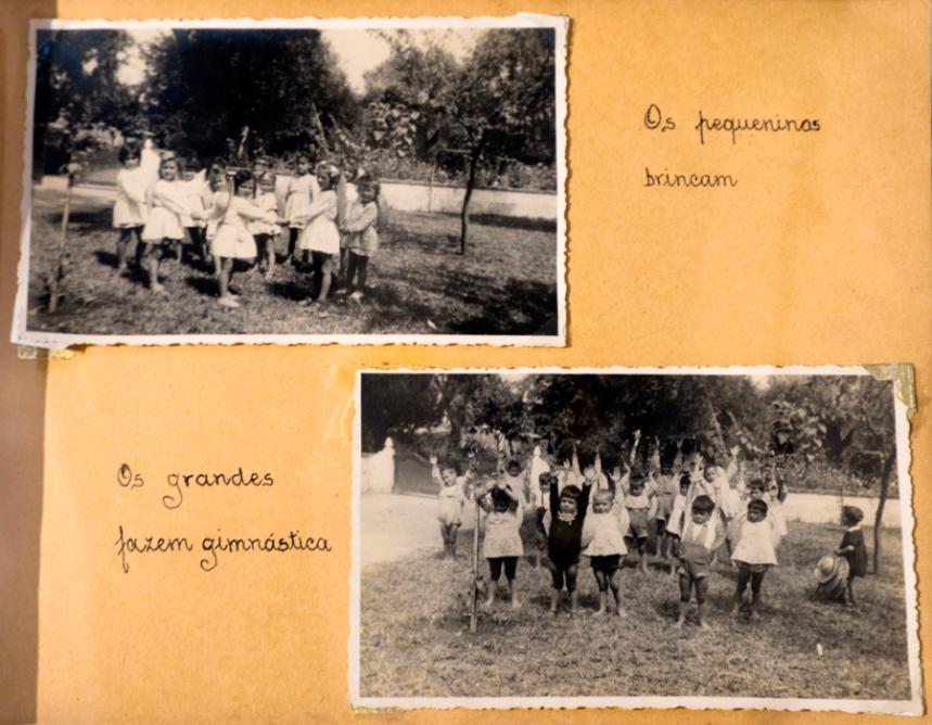 Fotos das crianças na escola