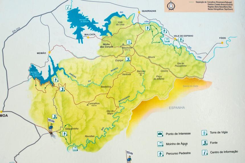 Mapa da Reserva da Malcata que abrange parte das serras da Porra e das Mesas