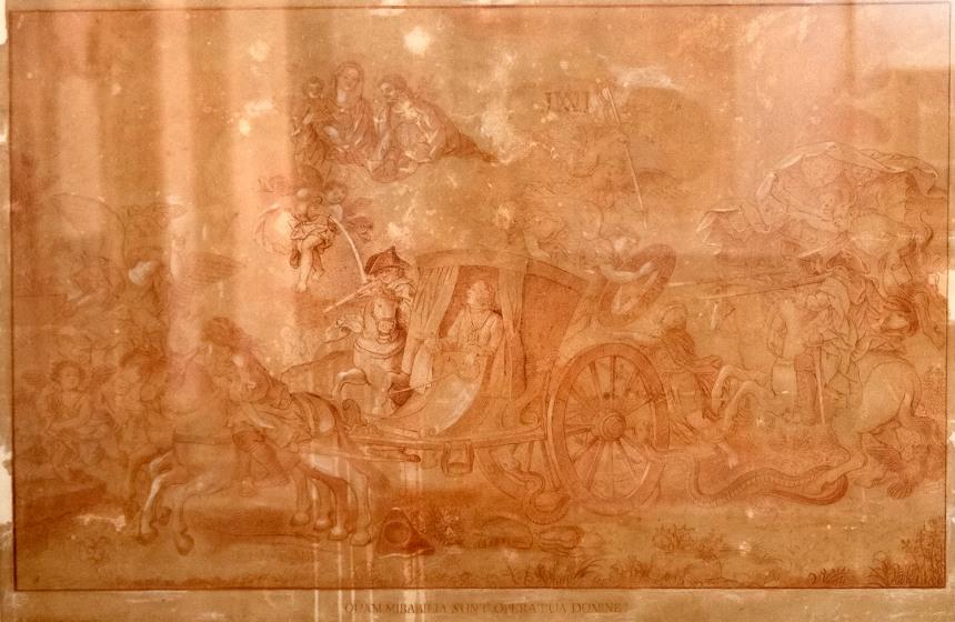 Alegoria do sec. XVIII ao atentado contra o rei D. José, que teria tido proteção divina. Autor Vieira Lusitano